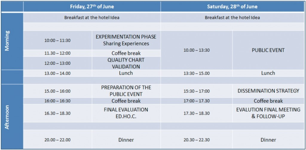 final evaluation meeting programme edhoc
